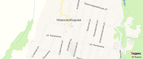 Клубная улица на карте Новосвободной станицы Адыгеи с номерами домов