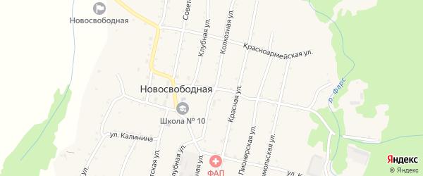 Школьная улица на карте Новосвободной станицы Адыгеи с номерами домов