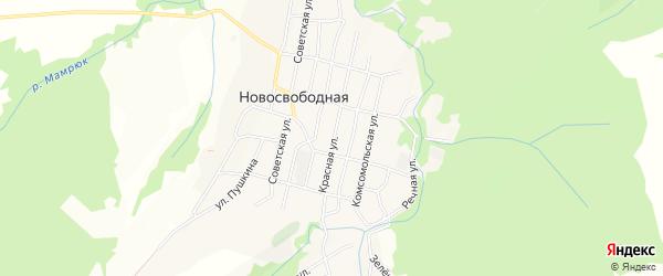 Карта Новосвободной станицы в Адыгее с улицами и номерами домов