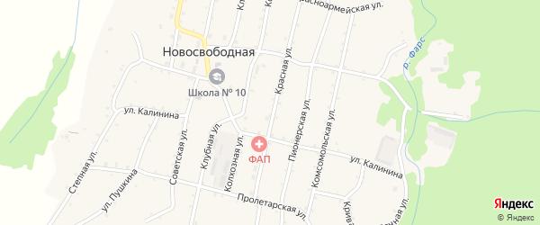 Шоссейная улица на карте Новосвободной станицы Адыгеи с номерами домов