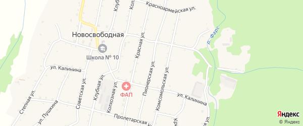 Пионерская улица на карте Новосвободной станицы Адыгеи с номерами домов