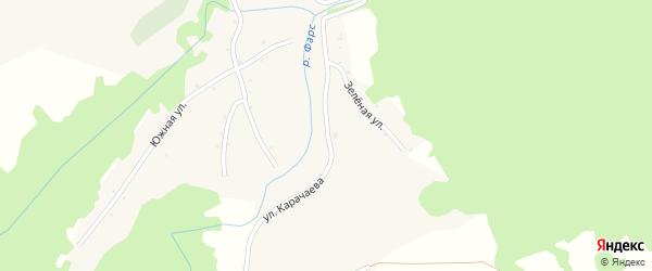 Улица Карачаева на карте Новосвободной станицы Адыгеи с номерами домов