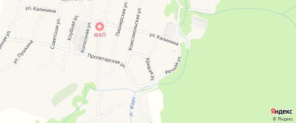 Кривая улица на карте Новосвободной станицы Адыгеи с номерами домов