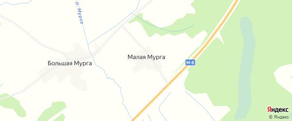 Карта деревни Малой Мурги в Вологодской области с улицами и номерами домов