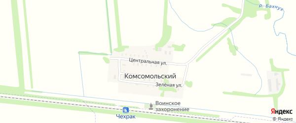 Центральная улица на карте Комсомольского поселка Адыгеи с номерами домов