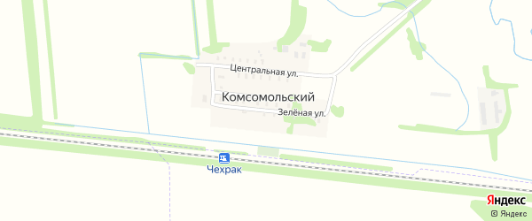 Зеленая улица на карте Комсомольского поселка Адыгеи с номерами домов