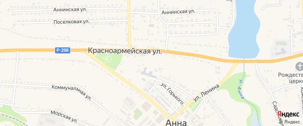 Вербная улица на карте поселка Анны Воронежской области с номерами домов