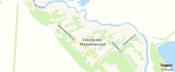 Малый переулок на карте Смольчева-Малиновского хутора Адыгеи с номерами домов