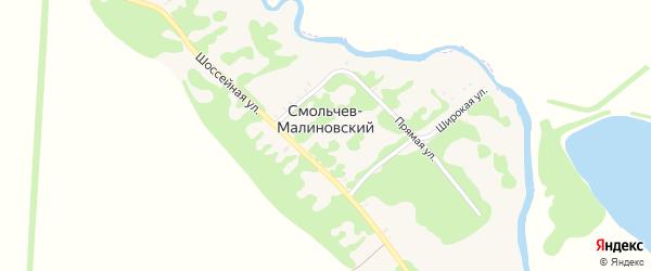 Короткий переулок на карте Смольчева-Малиновского хутора Адыгеи с номерами домов