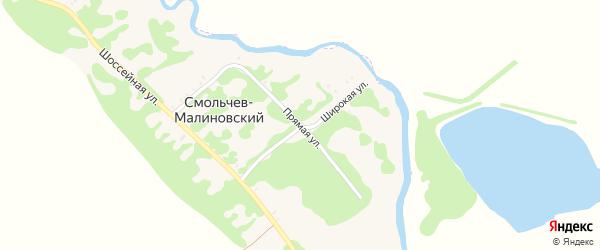 Прямая улица на карте Смольчева-Малиновского хутора с номерами домов