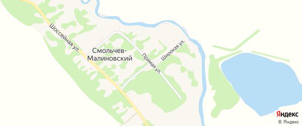 Широкая улица на карте Смольчева-Малиновского хутора Адыгеи с номерами домов