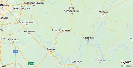 Карта Клепиковского района Рязанской области с городами и населенными пунктами