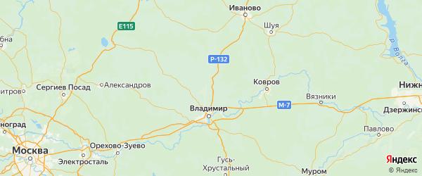 Карта Суздальского района Владимирской области с городами и населенными пунктами