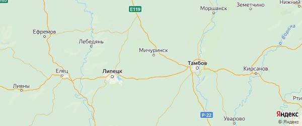 Карта Мичуринского района Тамбовской области с городами и населенными пунктами