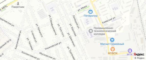 Улица Крылова на карте Мичуринска с номерами домов