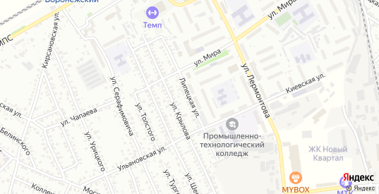 Липецкая улица в Мичуринске с номерами домов на карте. Спутник и схема онлайн