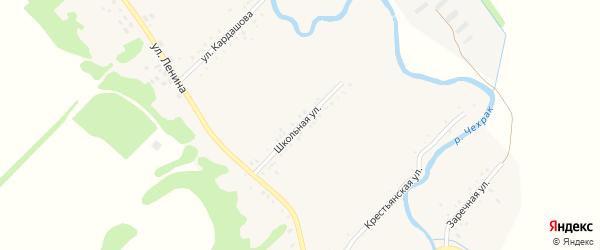 Школьная улица на карте Игнатьевского хутора Адыгеи с номерами домов