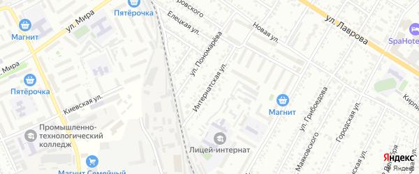 Интернатская улица на карте Мичуринска с номерами домов