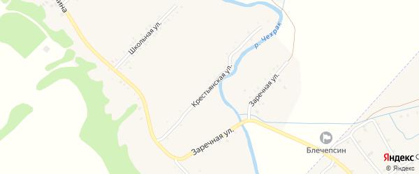 Крестьянская улица на карте Игнатьевского хутора Адыгеи с номерами домов