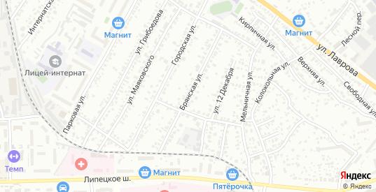 Брянская улица в Мичуринске с номерами домов на карте. Спутник и схема онлайн