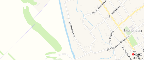 Подгорная улица на карте аула Блечепсин Адыгеи с номерами домов