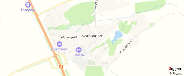 Карта села Филоново в Воронежской области с улицами и номерами домов