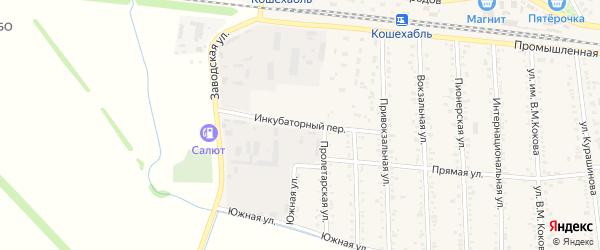Инкубаторный переулок на карте аула Кошехабль Адыгеи с номерами домов