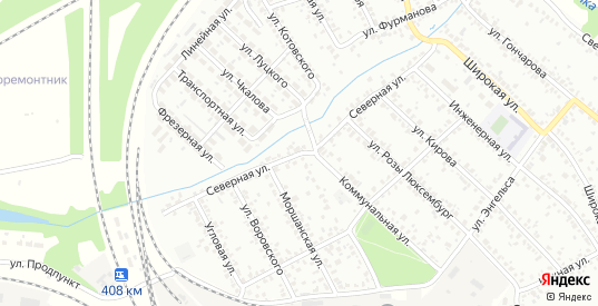 Северная улица в Мичуринске с номерами домов на карте. Спутник и схема онлайн