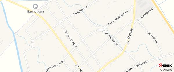 Первомайская улица на карте аула Блечепсин Адыгеи с номерами домов