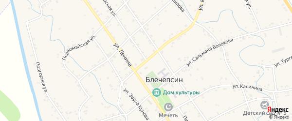 Пионерская улица на карте аула Блечепсин Адыгеи с номерами домов