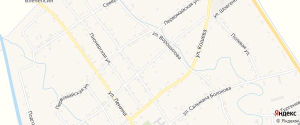 Улица Шовгенова на карте аула Блечепсин Адыгеи с номерами домов