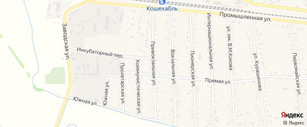 Привокзальная улица на карте аула Кошехабль Адыгеи с номерами домов