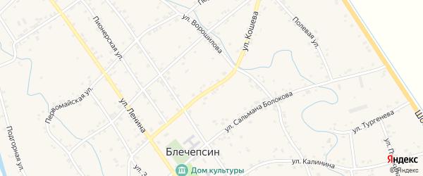 Улица Кошева на карте аула Блечепсин Адыгеи с номерами домов