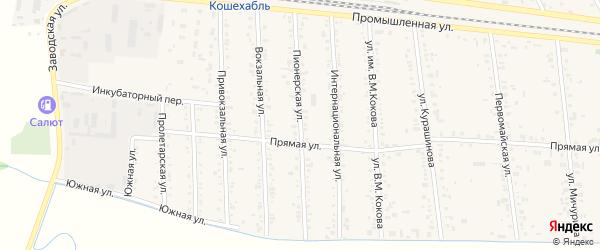 Пионерская улица на карте аула Кошехабль с номерами домов