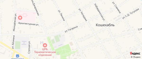 Улица Гагарина на карте аула Кошехабль Адыгеи с номерами домов