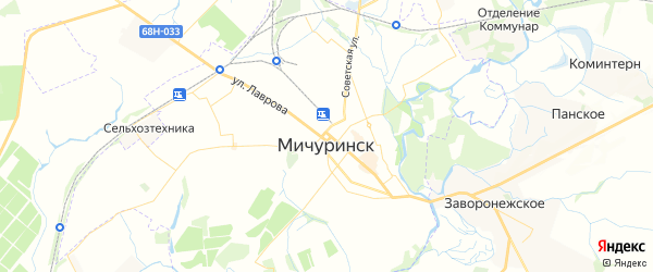 Карта Мичуринска с районами, улицами и номерами домов