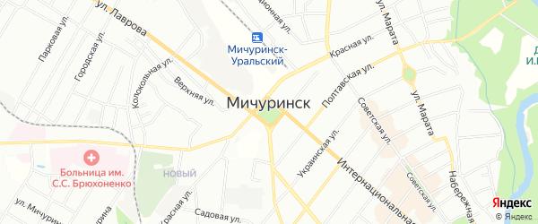 Садовое товарищество Гвардеец на карте Мичуринска с номерами домов