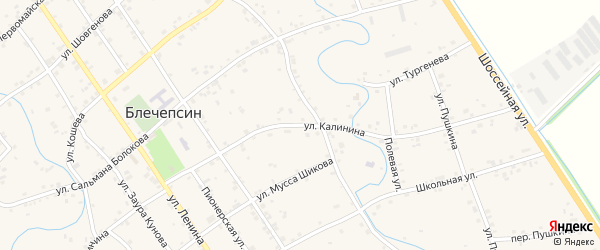 Улица Калинина на карте аула Блечепсин Адыгеи с номерами домов
