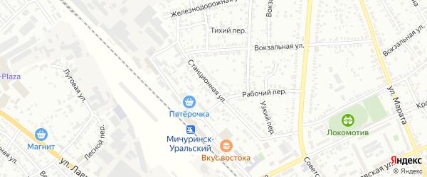 Станционная улица на карте Мичуринска с номерами домов