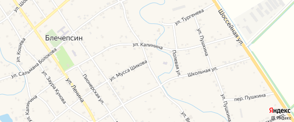 Улица Ворошилова на карте аула Блечепсин Адыгеи с номерами домов