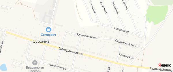 Юбилейная улица на карте села Суромны Владимирской области с номерами домов