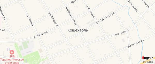 Шоссейная улица на карте аула Кошехабль Адыгеи с номерами домов