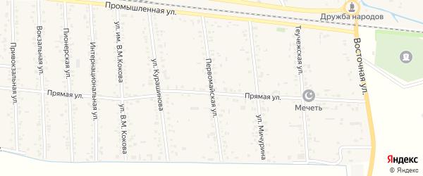 Первомайская улица на карте аула Кошехабль Адыгеи с номерами домов