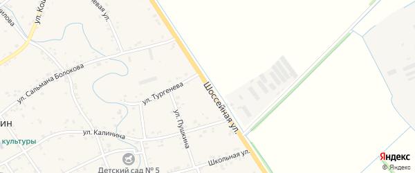 Шоссейная улица на карте аула Блечепсин Адыгеи с номерами домов