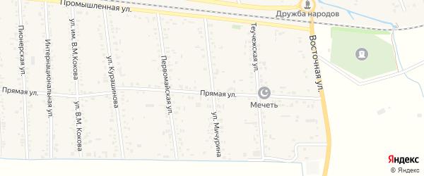 Улица Мичурина на карте аула Кошехабль Адыгеи с номерами домов