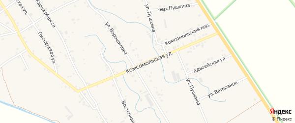 Комсомольская улица на карте аула Блечепсин Адыгеи с номерами домов