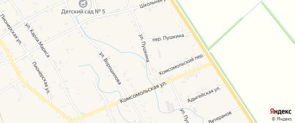 Улица Пушкина на карте аула Блечепсин Адыгеи с номерами домов