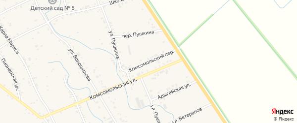 Комсомольский переулок на карте аула Блечепсин Адыгеи с номерами домов