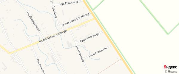 Адыгейская улица на карте аула Блечепсин Адыгеи с номерами домов
