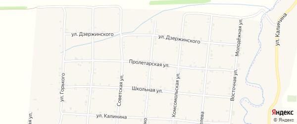 Пролетарская улица на карте села Унароково Краснодарского края с номерами домов